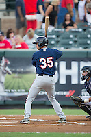 Brandon Lopez (35) of the Elizabethton Twins at bat against the Pulaski Yankees at Calfee Park on July 25, 2016 in Pulaski, Virginia.  The Twins defeated the Yankees 6-1.  (Brian Westerholt/Four Seam Images)