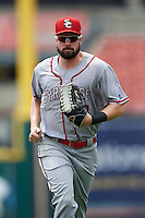 Syracuse Chiefs right fielder Caleb Ramsey (28) jogs to the dugout during a game against the Buffalo Bisons on July 31, 2016 at Coca-Cola Field in Buffalo, New York.  Buffalo defeated Syracuse 6-5.  (Mike Janes/Four Seam Images)