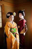 Yachiho-san, a geisha and Komomo, an apprentice maiko<br /> Kyoto, Japan, 2005. As geisha, Yachiho-san and Komomo's job is to entertain clients with their elegant beauty and talents. Here in their traditional giesha house or okiya, dressing for the evening is time consuming. As their kimonos can weigh up to thirty pounds and trail twenty-five feet in length the girls have a strong male dresser to help. Once becoming a geisha the maiko cuts her hair and then dons a wig instead of wearing this elaborate hairstyle with her own hair.