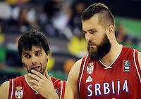 Kosarka Basketball<br /> World Basketball Championship Spain 2014<br /> Srbija v Iran<br /> Milos Teodosic (L) and Miroslav Raduljica<br /> Granada. 09.01.2014.<br /> foto: Starsportphoto.com©