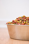 Close-up of bowl of dog food on wooden floor