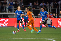 SAN JOSE, CA - JULY 24: Zarek Valentin #4 of the Houston Dynamo dribbles the ball during a game between San Jose Earthquakes and Houston Dynamo at PayPal Park on July 24, 2021 in San Jose, California.