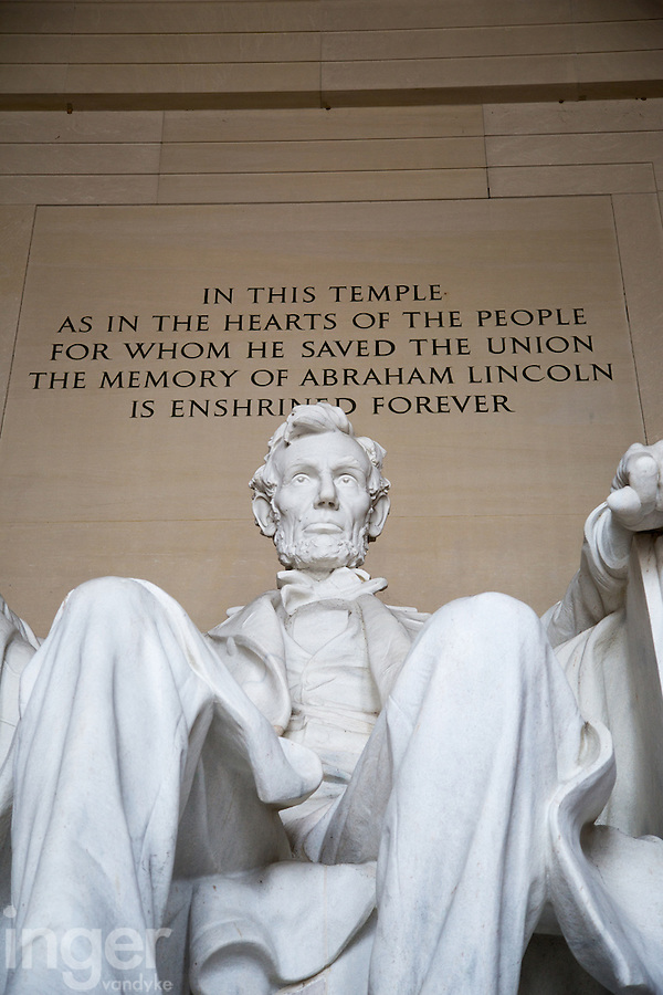 Statue of Lincoln at the Lincoln Memorial in Washington DC