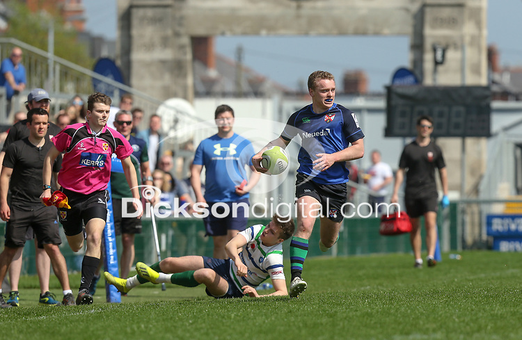 Monday 22nd April 2019 | 2019 McCrea Cup Final<br /> <br /> Curtis Dundass on the attack during the McCrea Cup final between Queens 2s and Grosvenor at Kingspan Stadium, Ravenhill Park, Belfast. Northern Ireland. Photo John Dickson/Dicksondigital
