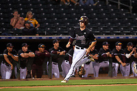 Arizona State University Sun Devils Trevor Hauver (18) runs toward home plate before scoring a run during an Instructional League game against the Texas Rangers at Surprise Stadium on October 6, 2018 in Surprise, Arizona. (Zachary Lucy/Four Seam Images)