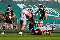13th March 2021; Franklin's Gardens, Northampton, East Midlands, England; Premiership Rugby Union, Northampton Saints versus Sale Sharks; Alex Moon of Northampton Saints takes the ball into contact