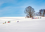 Deutschland, Bayern, Chiemgau, Vachendorf: sanfte Huegel bieten auch kleineren Kindern unbeschwerten Rodelspass | Germany, Upper Bavaria, Chiemgau, Vachendorf: rolling hills offering sledge rides for young kids