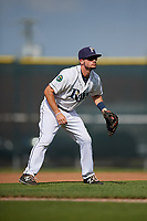Princeton Rays third baseman Connor Hollis (39) during the first game of a doubleheader against the Johnson City Cardinals on August 17, 2018 at Hunnicutt Field in Princeton, Virginia.  Johnson City defeated Princeton 6-4.  (Mike Janes/Four Seam Images)