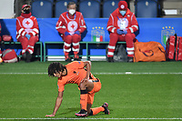 Nathan Ake of Netherlands reacts during the Uefa Nation A League Group 1 football match between Italy and Netherlands at Atleti azzurri d Italia Stadium in Bergamo (Italy), October, 14, 2020. Photo Andrea Staccioli / Insidefoto