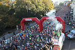 Colin Jackson fires a pistol to get 18000 runners starting the Cardiff Half Marathon..14.10.12.CREDIT:  STEVE POPE - SPORTINGWALES