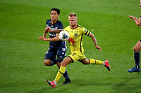 15th March 2020, Wellington, New Zealand;  Phoenix's David Ball chases the ball with Victory's So Nishikawa during the A-League - Wellington Phoenix versus Melbourne Victory football match at Sky Stadium in Wellington on Sunday the 15th March 2020.