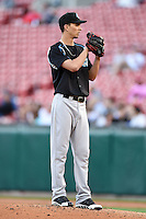 Syracuse Chiefs starting pitcher A.J. Cole (18) gets ready to deliver a pitch during a game against the Buffalo Bisons on July 23, 2014 at Coca-Cola Field in Buffalo, New  York.  Syracuse defeated Buffalo 5-0.  (Mike Janes/Four Seam Images)
