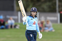 23rd February 2021, Christchurch, New Zealand;  Tammy Beaumont of England reaches 50 runs during the 1st ODI Cricket match, New Zealand versus England, Hagley Oval, Christchurch, New Zealand