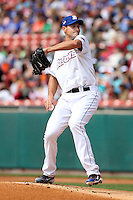 Buffalo Bisons starting pitcher Chris Young #34 delivers a pitch during a game against the Columbus Clippers at Coca-Cola Field on May 31, 2012 in Buffalo, New York.  Young pitched six shutout innings allowing only two hits;  Columbus defeated Buffalo 3-0.  (Mike Janes/Four Seam Images)