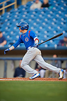 South Bend Cubs second baseman Jhonny Bethencourt (6) follows through on a swing during the first game of a doubleheader against the Lake County Captains on May 16, 2018 at Classic Park in Eastlake, Ohio.  South Bend defeated Lake County 6-4 in twelve innings.  (Mike Janes/Four Seam Images)