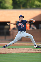 Team Stars starting pitcher Justin Campbell (18) (Oklahoma State) during a game against Team Stripes on July 6, 2021 at Pioneer Park in Greeneville, Tennessee. (Tracy Proffitt/Four Seam Images)