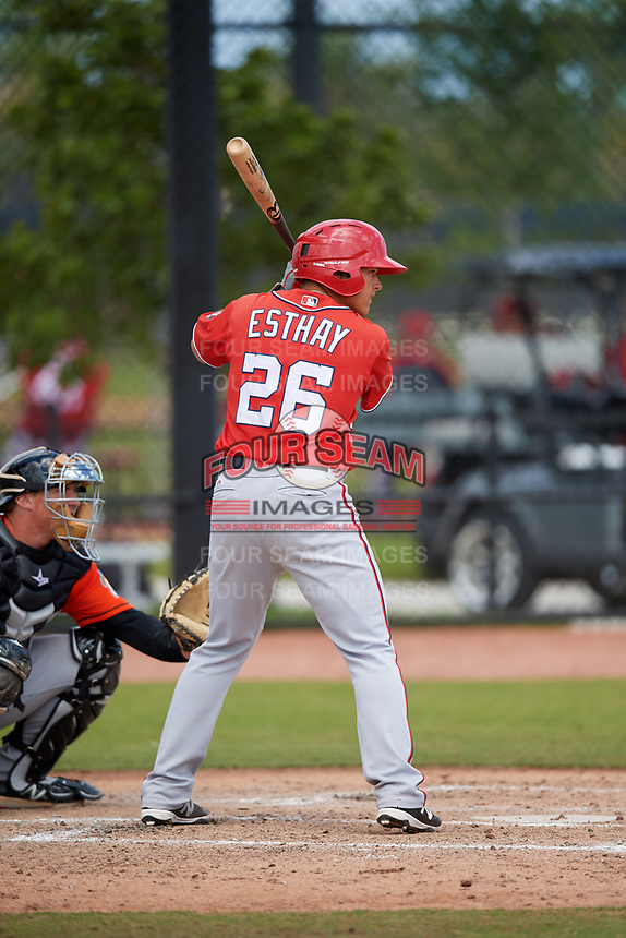 Washington Nationals Kameron Esthay (26) during a Minor League Spring Training game against the Miami Marlins on March 28, 2018 at FITTEAM Ballpark of the Palm Beaches in West Palm Beach, Florida.  (Mike Janes/Four Seam Images)