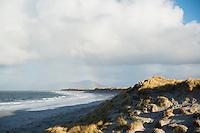 Woman climbs through coastal dune grass at west beach, Berneray, Outer Hebrides, Scotland