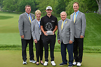6th June 2021; Dublin, Ohio, USA; Patrick Cantlay (USA) stands with the Jack Nicklaus family following the trophy ceremony for winning the Memorial Tournament final round at Muirfield Village Golf Club