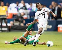 KANSAS CITY, KS - JUNE 26: Cordell Cato #7 during a game between Guyana and Trinidad