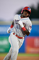 Clearwater Threshers Cornelius Randolph (2) rounds the bases after hitting a home run during a game against the Dunedin Blue Jays on April 8, 2017 at Florida Auto Exchange Stadium in Dunedin, Florida.  Dunedin defeated Clearwater 12-6.  (Mike Janes/Four Seam Images)