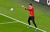 Belgian goalkeeper Thibaut Courtois (1) pictured during warming up of a soccer game during the quarter final Euro 2020 European Championship between the Belgian national soccer team Red Devils and Italy , called the Azzurri , on friday 2 nd of July 2021  in the Allianz Arena in Munchen , Germany . PHOTO SPORTPIX   SPP   DAVID CATRY