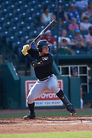 Deon Stafford (22) of the West Virginia Power at bat against the Greensboro Grasshoppers at First National Bank Field on August 9, 2018 in Greensboro, North Carolina. The Power defeated the Grasshoppers 5-3 in game one of a double-header. (Brian Westerholt/Four Seam Images)