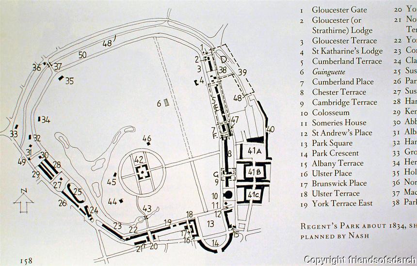 Regent's Park, London, 1809-1832. Plan by John Nash.
