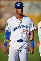 Cristian Santana (27) of the Ogden Raptors before the game against the Orem Owlz in Pioneer League action at Lindquist Field on June 21, 2017 in Ogden, Utah. The Owlz defeated the Raptors 16-5. This was Opening Night at home for the Raptors.  (Stephen Smith/Four Seam Images)