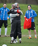 James Arthur is put out of play by Ally McCoist and Bilel Mohsni as the X Factor winner trains with Rangers ahead of tonight's gig at the Hydro in Glasgow. Ally McCoist commiserates with the singer