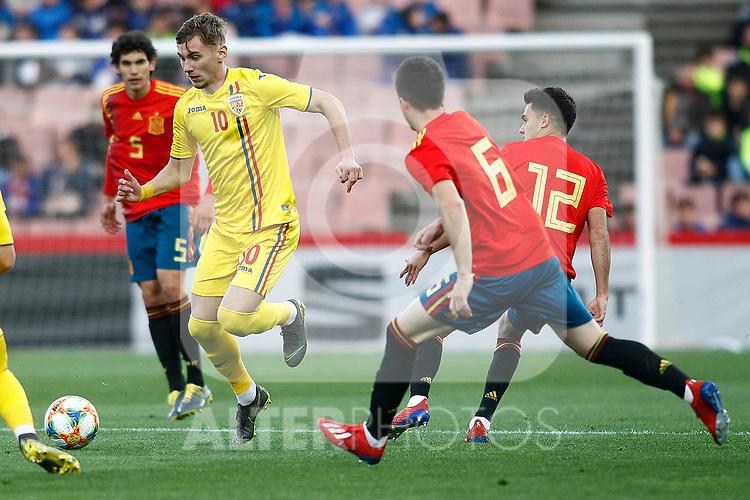 Romania's Dragus Denis and Spain's Igor Zubeldia, Spain's Sergio Reguilon   during the International Friendly match on 21th March, 2019 in Granada, Spain. (ALTERPHOTOS/Alconada)