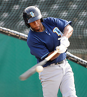 Infielder Rey Navarro (28) of the Wilmington Blue Rocks, Carolina League affiliate of the Kansas City Royals, prior to a game against the Lynchburg Hillcats on June 15, 2011, at City Stadium in Lynchburg, Va. (Tom Priddy/Four Seam Images)