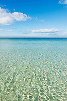 Clear cold water of scenic beach in arctic circle, Gimsøya, Lofoten islands, Norway