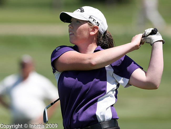 SIOUX FALLS, SD - MAY 19:  Nicole Funck of Dakota Valley watches her drive on the sixth hole of the final round at the 2009 Class A Girls Golf Championship at Central Valley Golf Course in Hartford. (Photo by Dave Eggen/Inertia).