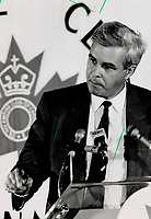 1989 FILE PHOTO - ARCHIVES -<br /> <br /> Pierre Lortie: Former head of Quebec grocery chain Provingo Inc. addressed the Empire club on education and technology yesterday. But he steadfastly refused to disclose future plans. Some observers say he may turn to politics.<br /> <br /> 1989<br /> <br /> PHOTO :  Doug Griffin - Toronto Star Archives - AQP