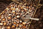 Belgium, West-Flanders, Bruges: Display of Belgian Seashell chocolates