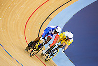 06 AUG 2012 - LONDON, GBR - Gregory Bauge (FRA) (left) of France leads Shane Perkins (AUS) (right) of Australia during their Individual Sprint semi final first race at the London 2012 Olympic Games track cycling at the Olympic Park Velodrome in Stratford, London, Great Britain (PHOTO (C) 2012 NIGEL FARROW)