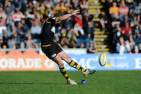 Nick Robinson of London Wasps takes a kick during the Aviva Premiership match between London Wasps and Gloucester Rugby at Adams Park on Sunday 1st April 2012 (Photo by Rob Munro)
