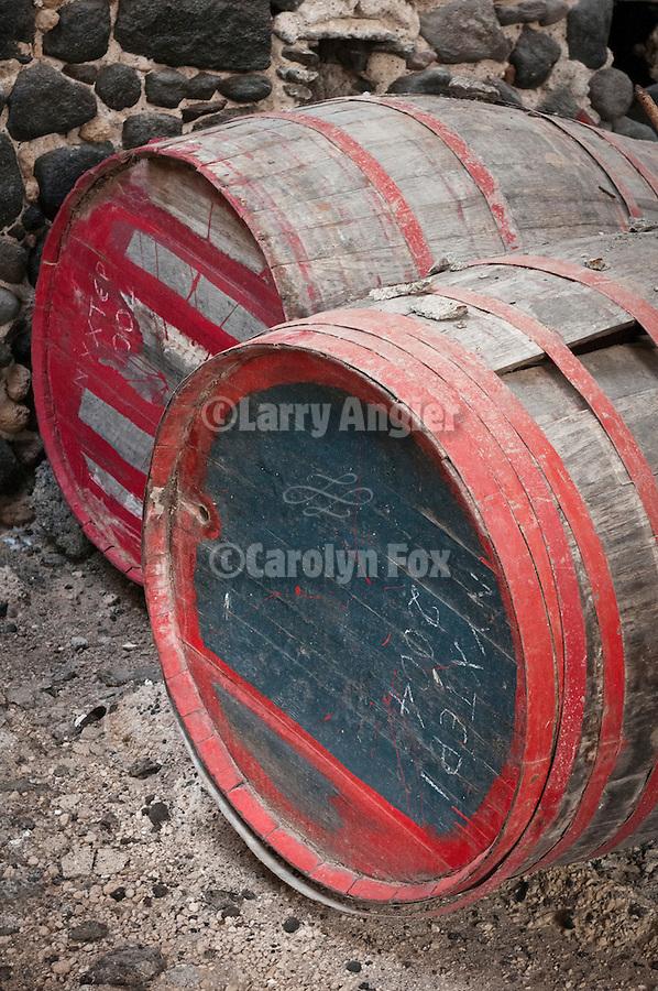 Wine barrels, stone walls, doors, windows, ruins, Old Tomato Factory, Santorini (Thira), Greece