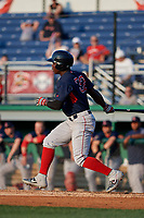 Lowell Spinners Gilberto Jimenez (32) bats during a NY-Penn League game against the Batavia Muckdogs on July 10, 2019 at Dwyer Stadium in Batavia, New York.  Batavia defeated Lowell 8-6.  (Mike Janes/Four Seam Images)