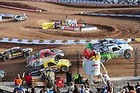 Dec. 11, 2011; Chandler, AZ, USA;  LOORRS pro 2 driver Robby Woods (99) Jeff Geiser (44) during the Lucas Oil Challenge Cup at Firebird International Raceway. Mandatory Credit: Mark J. Rebilas-