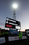 Grimsby Town 1 Lincoln City 3, 28/12/2014. Blundell Park, Football Conference. The scoreboard shows Lincoln 2-1 up at half time.  Photo by Paul Thompson.