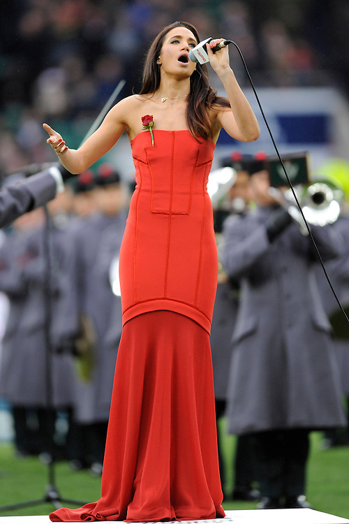 Laura Wright of Rosslyn Park RFC sings the national anthem during the RBS 6 Nations match between England and Italy at Twickenham Stadium on Saturday 14th February 2015 (Photo by Rob Munro)