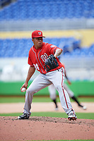 Washington Nationals pitcher Jhonatan German (34) delivers a pitch during a Florida Instructional League game against the Miami Marlins on September 26, 2018 at the Marlins Park in Miami, Florida.  (Mike Janes/Four Seam Images)