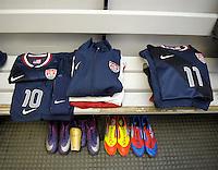 GENOVA, ITALY - February 29, 2012: Brand new jerseys for the USA men's national team in the locker room before their friendly match against Italy at the Stadium Luigi Ferraris in Genova, Italy.