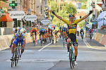 Wout Van Aert (BEL) Team Jumbo-Visma wins the 111th edition of Milan- San Remo 2020 from Julian Alaphilippe (FRA) Deceuninck-Quick Step, running 305km from Milan to San Remo, Italy. 8th August 2020.<br /> Picture: LaPresse/Gian Mattia D'Alberto | Cyclefile<br /> <br /> All photos usage must carry mandatory copyright credit (© Cyclefile | LaPresse/Gian Mattia D'Alberto)