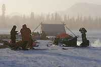 Tuesday March 6, 2007   Rainy Pass checkpoint----  Mushers cook food and prepare to leave at the Rainy Pass checkpoint on Puntilla Lake at 20 below zero with 15-20 mph winds on Tuesday morning