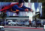 Superman billboard, Sunset Strip, 1980