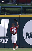 Arkansas outfielder Christian Franklin (25) forces an out, Saturday, June 5, 2021 during the first inning in the second game of the NCAA Fayetteville Regional at Baum-Walker Stadium in Fayetteville. Check out nwaonline.com/210606Daily/ for today's photo gallery. <br /> (NWA Democrat-Gazette/Charlie Kaijo)
