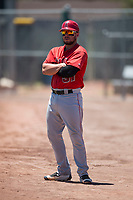 Los Angeles Angels catcher Connor Fitzsimons (57) coaches first base during an Extended Spring Training game against the Giants Black at the San Francisco Giants Training Complex on May 25, 2018 in Scottsdale, Arizona. (Zachary Lucy/Four Seam Images)